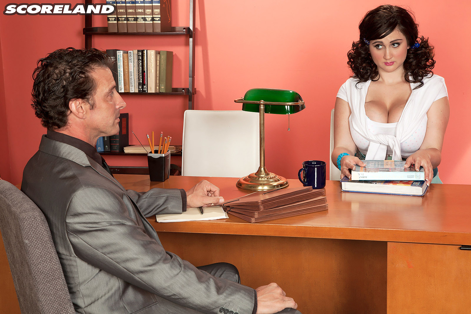 Massive jugged businesslady Beverly Paige entices a man in her office place after a panty display