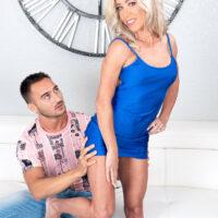 Platinum-blonde cougar Mandy Monroe seduces a junior dude in a short sundress and high heels