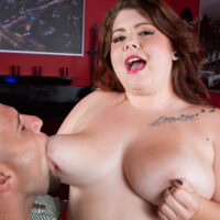 Ginger-haired fatty Harley Ann is liberated from a short dress before having sex with a monster-sized dick
