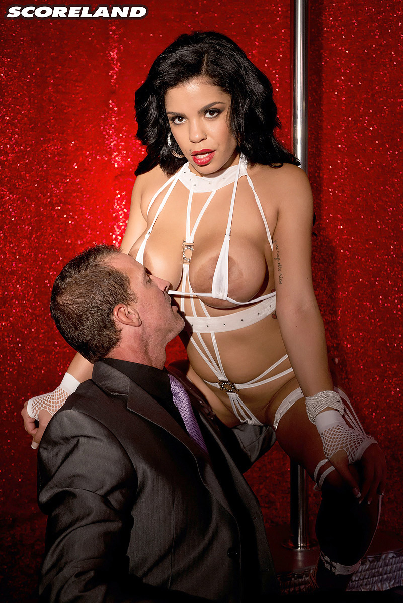 Huge-chested Latina stripper Savana Ginger teases a gentleman during a private show
