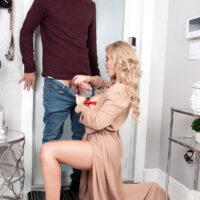 Irresistible blonde Casca Akashova tempts her next-door neighbour in a beguiling boulder-holder and panty set