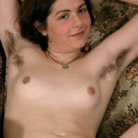 European amateur flaunts pierced nips while showing her fur covered underarms and unshaven thicket