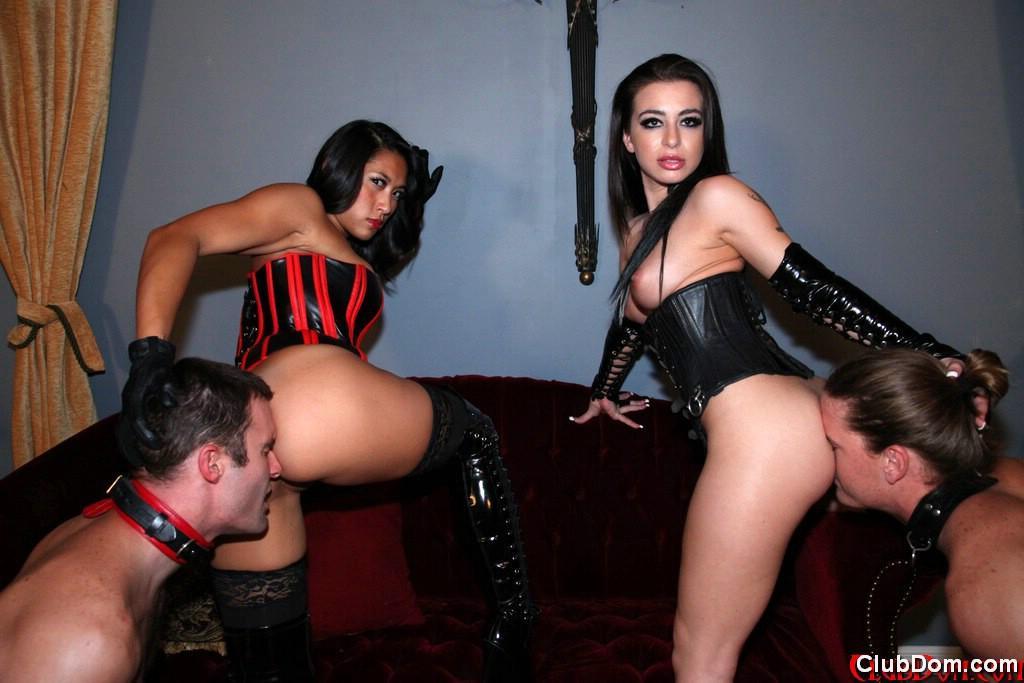 Inviting femmes Adriana Lynn and Mia Li make sub males idolize their bare booties