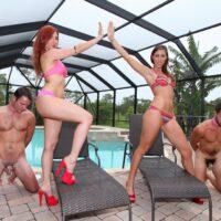 Lengthy legged girlfriends Rilynn and Amadahy sport high heels while having subby hubbies eat their asses