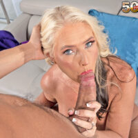 Buxom mature blonde Maddie Cross has oral and vaginal sex with a large cock during POV action