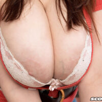 Solo chick Sofie Style whips out her amazing boobs in the kitchen before showing her coochie