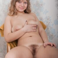 Sandy-haired amateur Jamaica exposing big all natural breasts before spreading her furry pussy