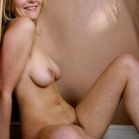 First timer with natural breasts and a cock-squeezing ass pets her hairless honeypot