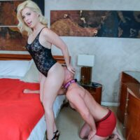 Gorgeous blondes Inga and Victoria have collared men sniff at their backdoors
