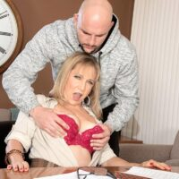 Over 60 lecturer Luna Azul seduces a male student in her office place