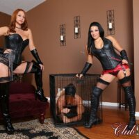 Michelle Lacy and a sweet gf of hers dominate a masked male in latex apparel and long boots