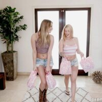 Teenage women Jenna and Kenna lick lesbian cooters and share a double dong in hosiery