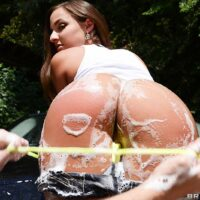 Latina adult film star Amirah Adara bares her giant butt outdoors before getting butt banged