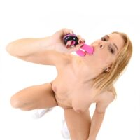 Solo girl Chrissy Fox strips to her footwear before tucking a sex toy into her smooth-shaven vag