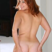 All-natural redhead first timer showcasing perky titties and her tidy smooth-shaven vag