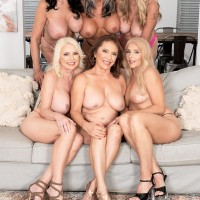 Sixty plus MILF Mia Magnusson gathers her wives for an all female orgy