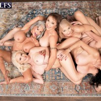 60 plus MILF Mia Magnusson gathers her wives for an all female orgy