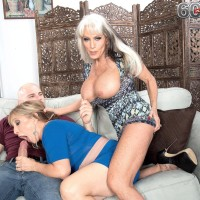 Sixty plus COUGARS Sally D'Angelo and Luna Azul give a double hj and oral pleasure