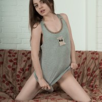 First-timer female Amelia demonstrates her all natural cunny after unleashing her little titties in heels