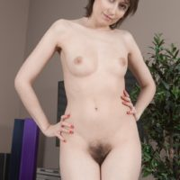 First-timer model Meggie flashes her diminutive tits former to showcasing her total bush