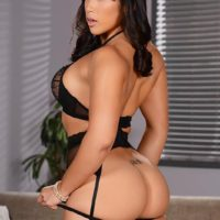 Oriental MILF Mia Li does a DP after modelling in ebony lingerie and nylons