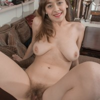 Bootlessly light-haired solo female uncovering enormous all natural boobs and furry twat