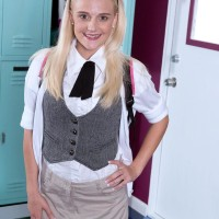 18 amateur blonde Stacy Kiss freeing little nubile breasts from brassiere in knee socks
