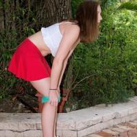 Eighteen amateur Charli Maverick exposing little teenage fun bags and backside outdoors