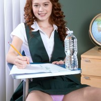 Legal ginger-haired Alice Lime green strips naked during her college girl investigates