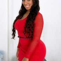 BBBW Layla Monroe has her massive caboose exposed by her guy friend