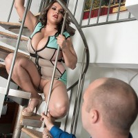 BIG HOT LADY Cat Bangles flashing no panty upskirt on stairs before uncovering gigantic titties
