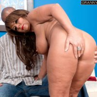 Stunning granny Cassidy has her adorable boobies and butt uncovered by her junior ebony lover