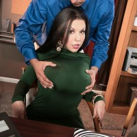 Humungous jugged brunette MILF Sheridan Enjoy stripped nude by coworker in office