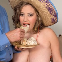 Gigantic titted Latina fatty Selena Castro gobbling food while vaunting melons