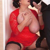 BBW Nila Mason unveiling her adorable juggs before giving a hefty cock a handjob and BJ