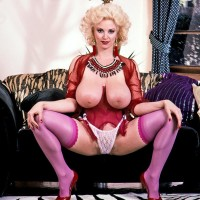 Immense boobed ash-blonde Chessie Moore gargles on her swell nipples before slipping panties aside