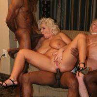 humungous breasted fair-haired Kayla Kleevage and a gf take part in an bi-racial 4 way