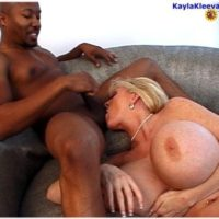 Gigantic boobed mature yellow-haired Kayla Kleevage takes on huge ebony boners during gonzo action