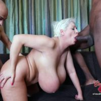 Hefty breasted platinum blonde Claudia Marie takes on massive milky and black pricks at once