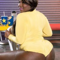Ebony BBW Stacy Love flaunts her gigantic backside in buttocks cut-offs and roller skates