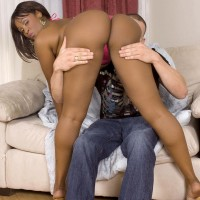 Black MILF Kara Kane entices a white guy with her monster-sized ass in a swimsuit