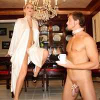 Blond gf Ashley Edmunds has her slave spouse suck another man's cock before she smashes him