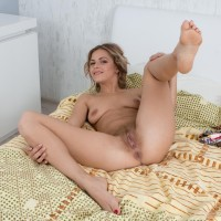 Ash-blonde first timer Ayda eats her lips former to a close up of her finger spread vag