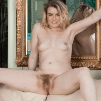 Ash-blonde first-timer Rebecca Louise loosing lil' titties from brassiere before parting muff