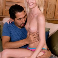 Blond first-timer Sammy Daniels having petite breasts revealed before giving hand job
