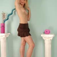 Sandy-haired amateur shows her fur covered armpits before airing out her all-natural vag
