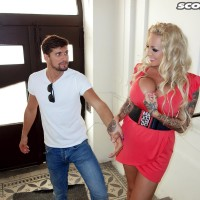 Yellow-haired cutie Bambi Blacks entices a stud on a park bench in a short sundress