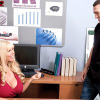 Yellow-haired manager lady Karen Fisher letting out big knockers while seducing employee