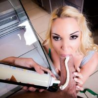 Blond female Victoria Summers taking it up the butt from the cook inside diner