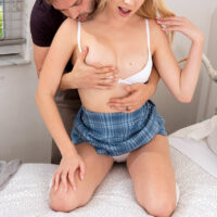 Blonde college girl Braylin takes a penis inside her smoothly-shaven slit in milky-white knee socks